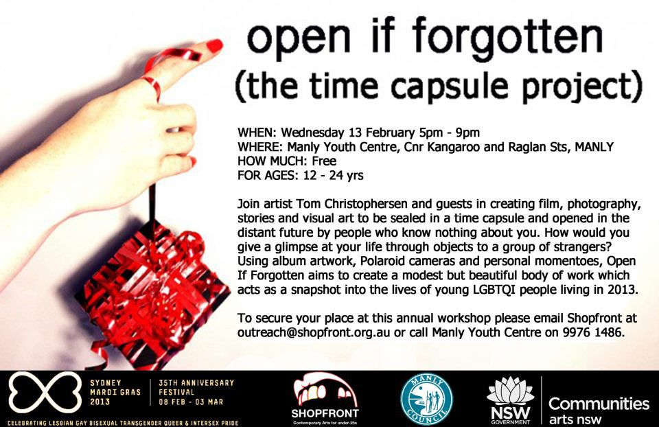 'Open If Forgotten' Workshop Poster/Invite, 2013