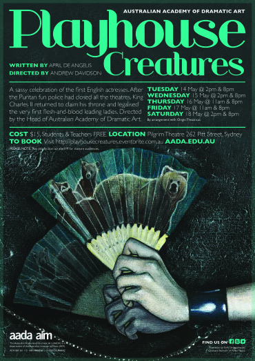 'Playhouse Creatures' Postcard, 2013, Created in conjunction with AADA Design Staff