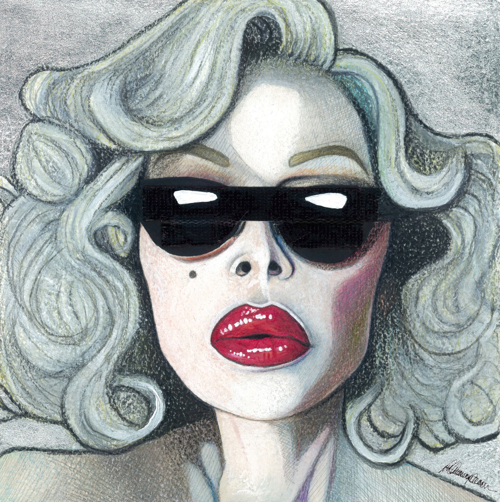 'Deeper' A Portrait of Amanda Lepore 2015 19.5 x 19.5cm Watercolour pencil, watercolour paint, acrylic, graphite, ink, silver-leaf and gaffa tape.