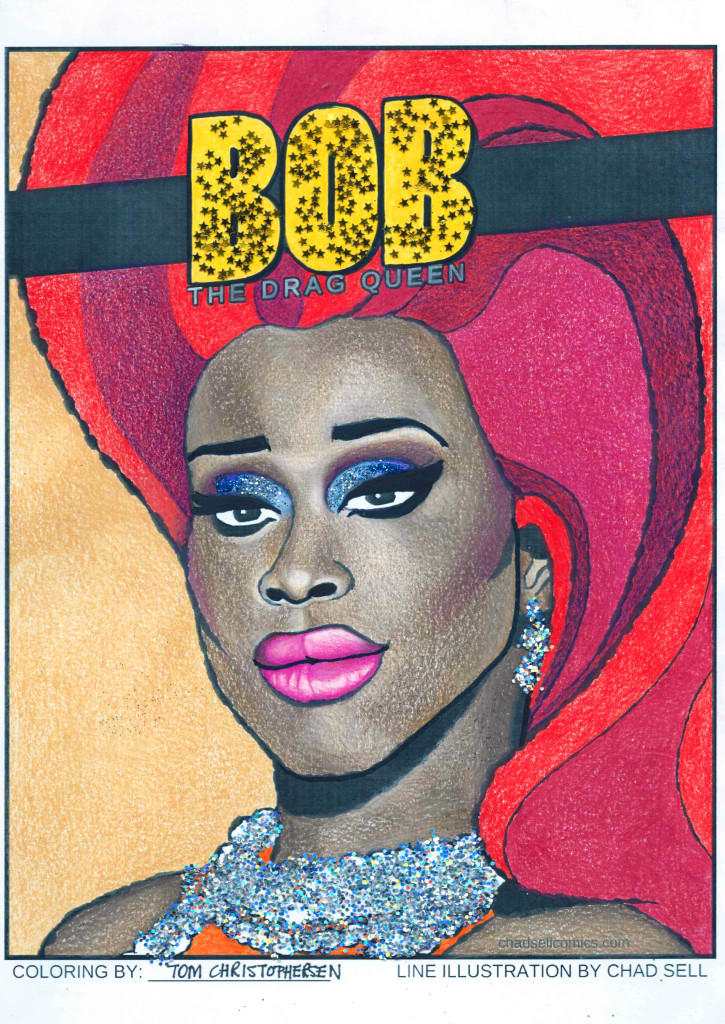 #COLORINGWITHQUEENS 2016 Colouring Competition run by Chad Sell* Coloured pencil, glitter and Sharpie.